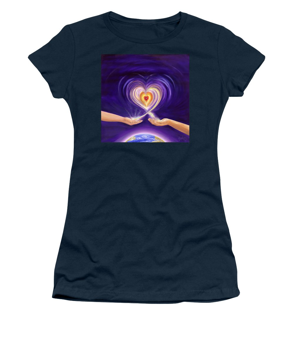 Love Women's T-Shirt (Athletic Fit) featuring the painting Heart Unity by Teresa Gostanza