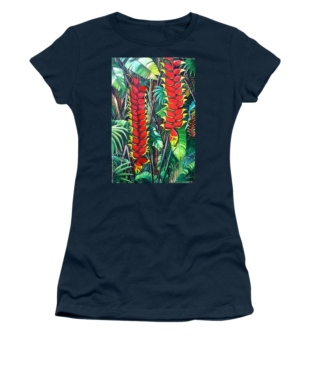 Heliconia Painting Hanging Red Heliconia Tropical Painting Women's T-Shirt (Athletic Fit) featuring the painting Heliconia Rostrata by Karin Dawn Kelshall- Best