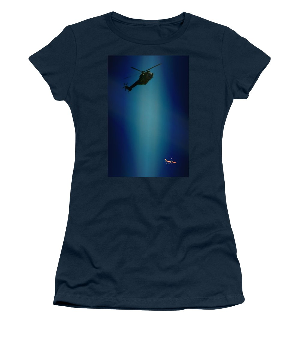 Atlas Oryx Women's T-Shirt featuring the photograph Helicopter Blues by Paul Job