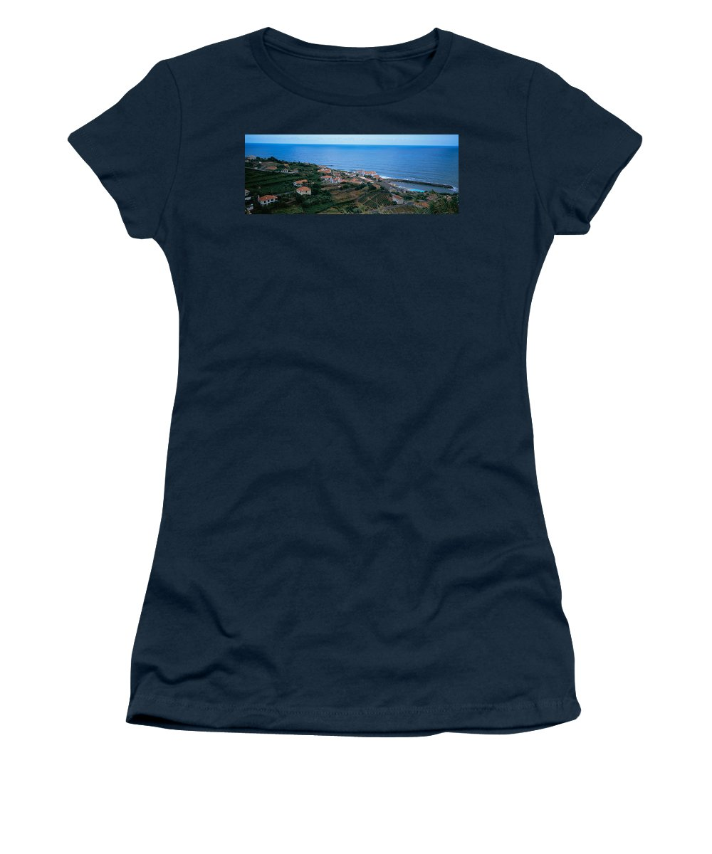 Photography Women's T-Shirt featuring the photograph High Angle View Of Houses At A Coast by Panoramic Images