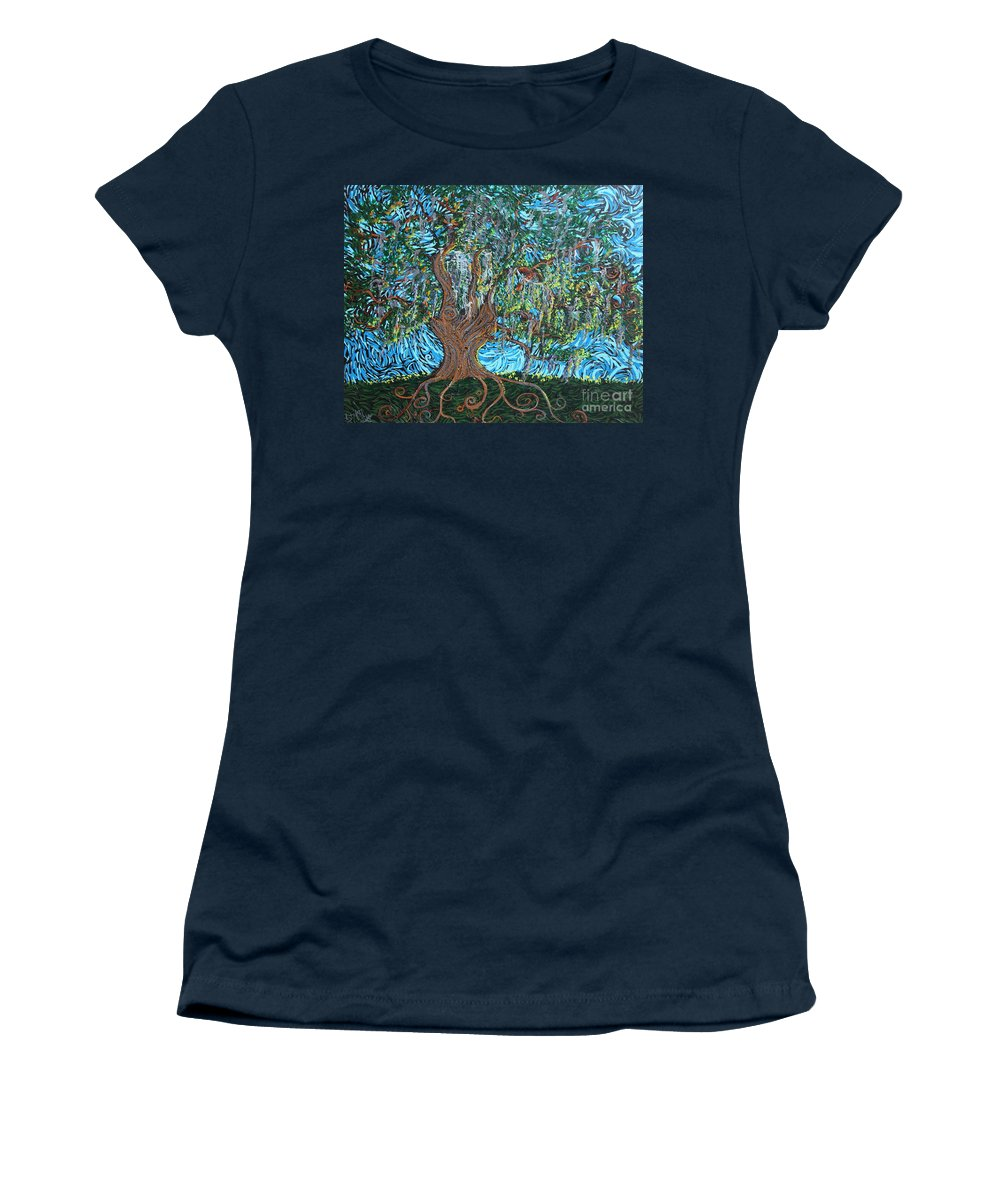 Landscape Women's T-Shirt (Athletic Fit) featuring the painting I Bow To Thee by Stefan Duncan