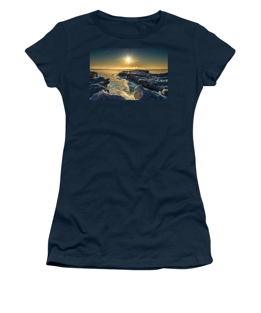 Ice Women's T-Shirt featuring the photograph Ice Flow by James Meyer