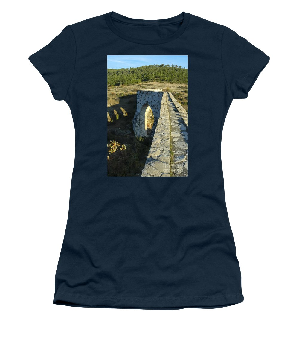 Incekaya Aqueduct Structure Structures Architecture Tree Trees Landscape Landscapes Women's T-Shirt featuring the photograph Incekaya Aqueduct by Bob Phillips