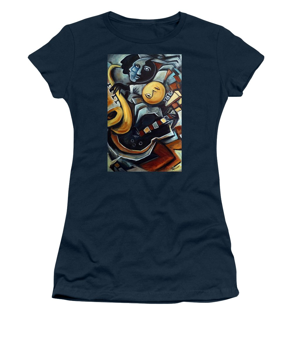 Cubism Women's T-Shirt (Athletic Fit) featuring the painting Indigo Blues by Valerie Vescovi
