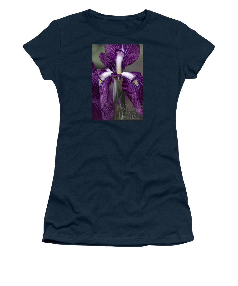 Flower Artwork Women's T-Shirt featuring the photograph Inner Strength With Message by Mary Buck