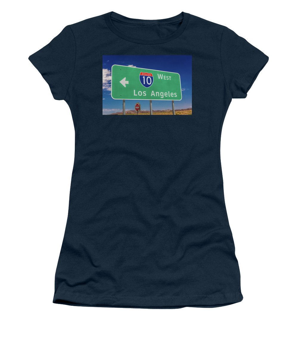 Photography Women's T-Shirt featuring the photograph Interstate 10 Highway Signs by Panoramic Images