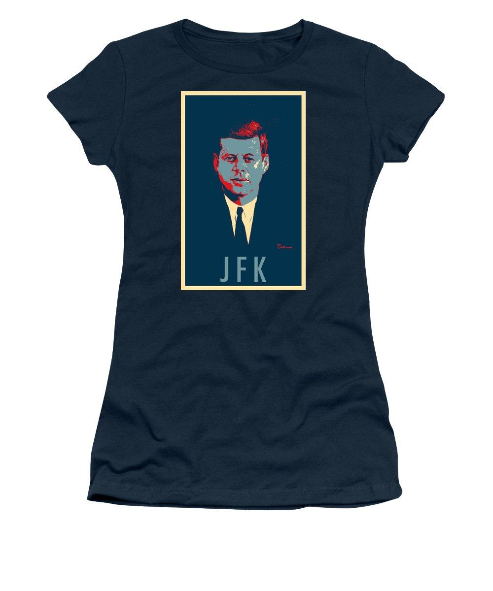 Cartoon Art Women's T-Shirt featuring the photograph J F K In Hope by Rob Hans