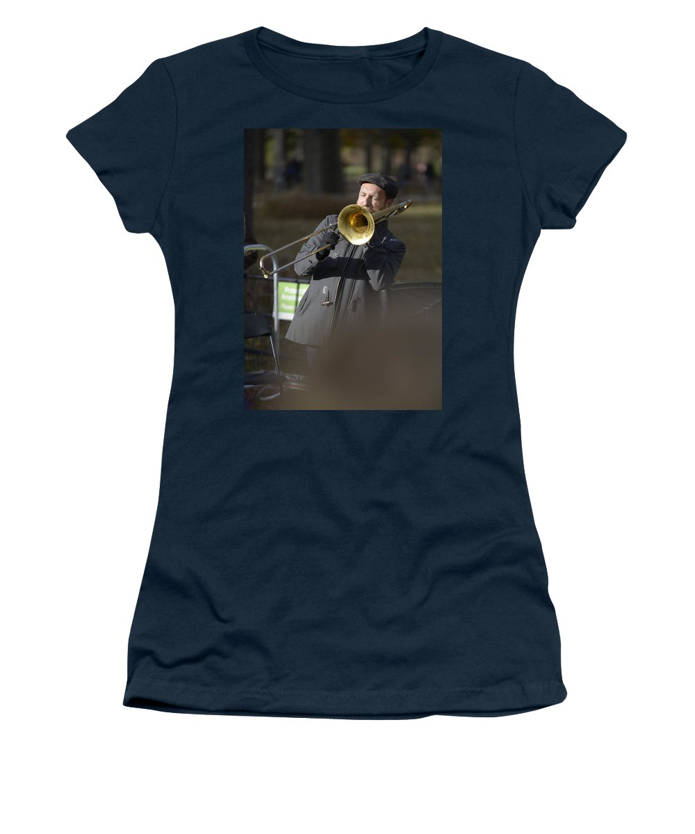 Central Park Women's T-Shirt featuring the photograph Jazz In Central Park 1 by David Berg