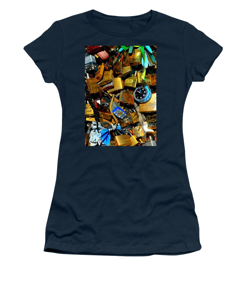 Lock Women's T-Shirt featuring the photograph Jumble Of Locks by Carla Parris