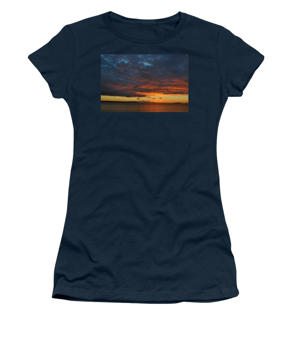 Lake Superior Women's T-Shirt featuring the photograph Lake Superior Sunset by Kathryn Lund Johnson