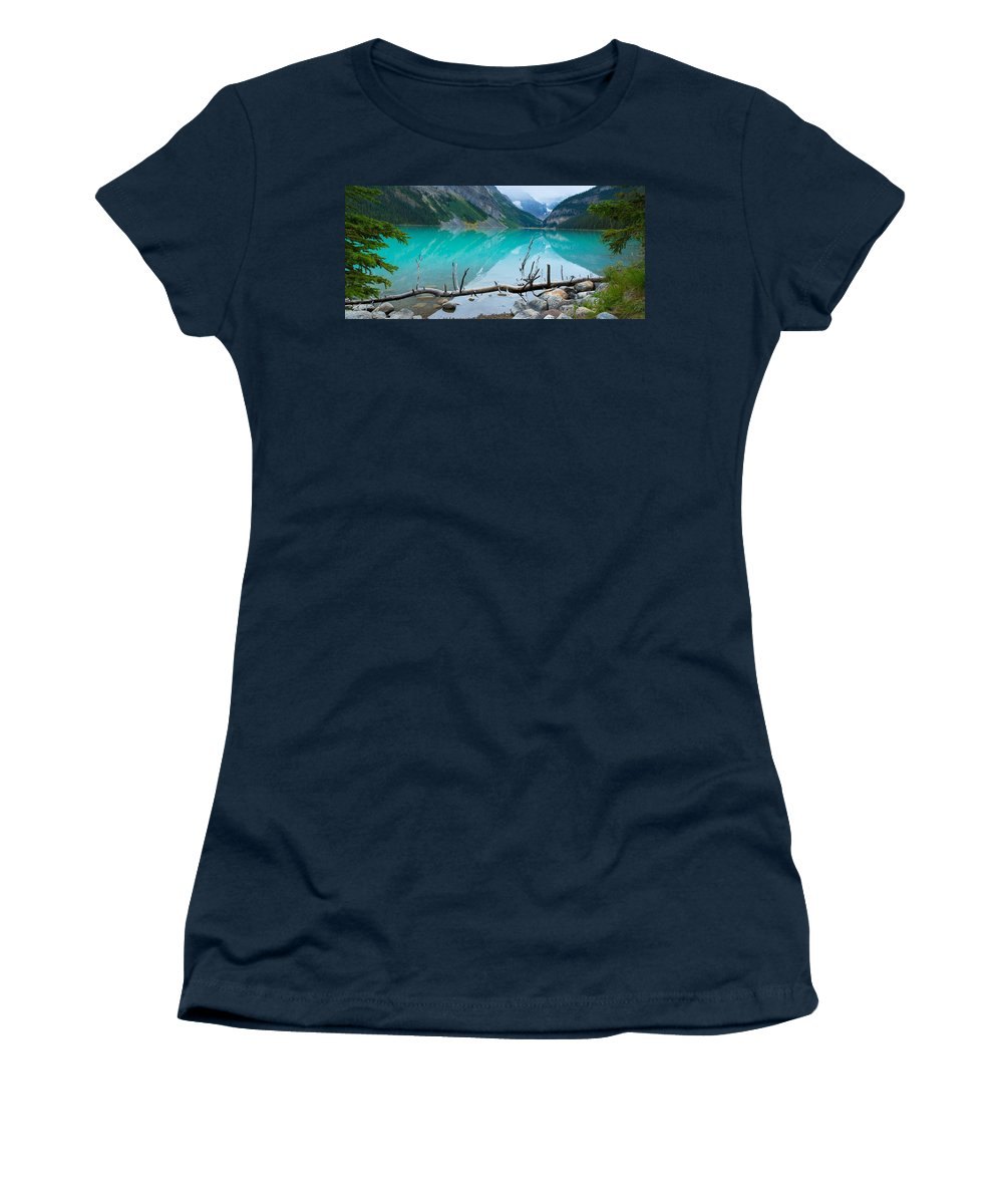 Photography Women's T-Shirt featuring the photograph Lake With Canadian Rockies by Panoramic Images