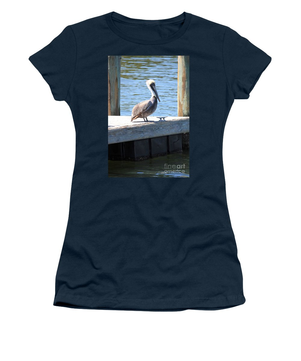 Pelican Women's T-Shirt featuring the photograph Lone Pelican On Pier by Carol Groenen