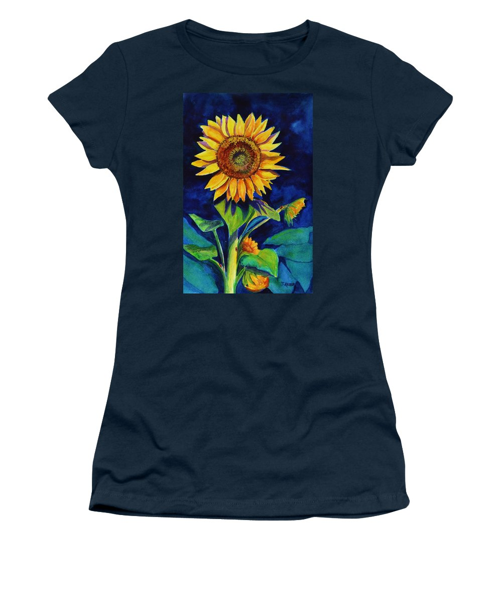 Sun Women's T-Shirt featuring the painting Midnight Sunflower by Jane Ricker