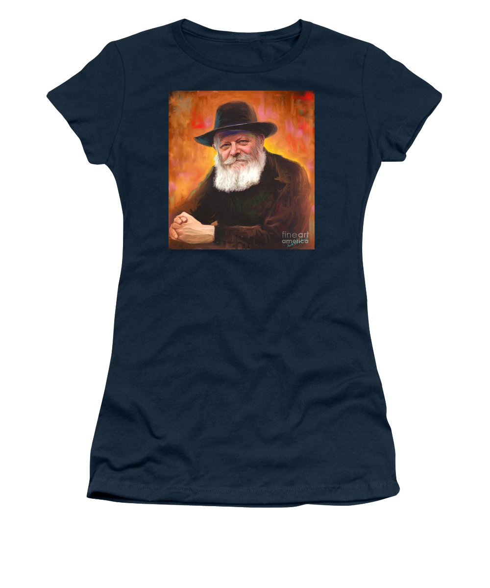 Lubavitcher Rebbe Women's T-Shirt featuring the painting Lubavitcher Rebbe by Sam Shacked