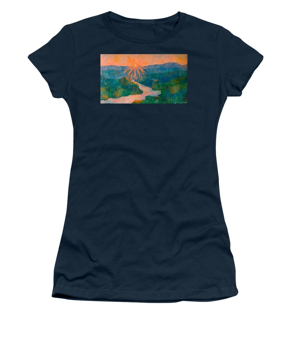Carvins Cove Women's T-Shirt featuring the painting Magic Light At Carvins Cove by Kendall Kessler