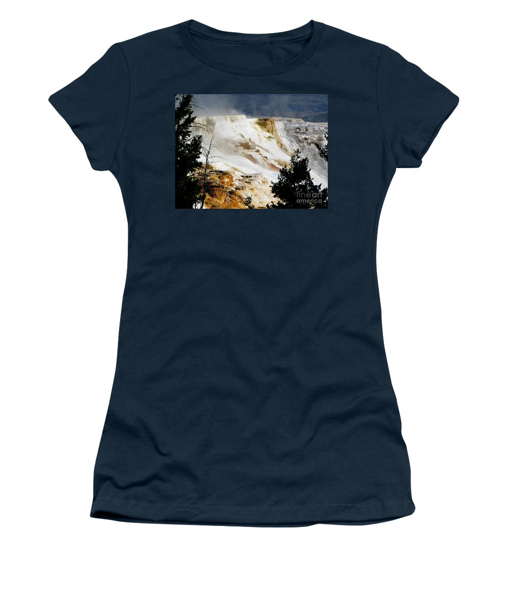 Landscape Women's T-Shirt featuring the photograph Mammoth Springs Yellowstone Steam Rising by Ron Tackett