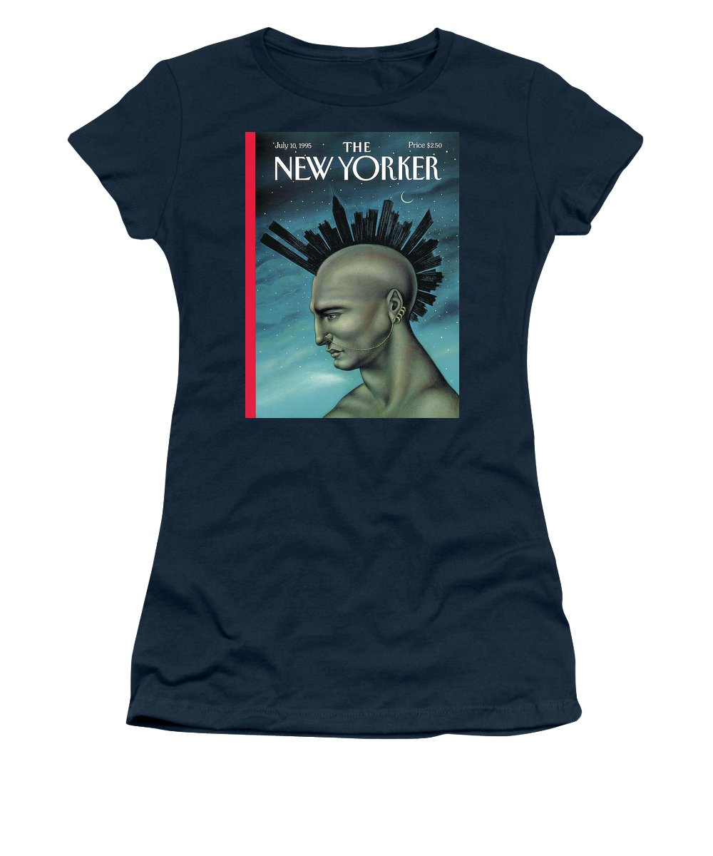 Mohawk Women's T-Shirt featuring the painting Mohawk Manhattan by Anita Kunz