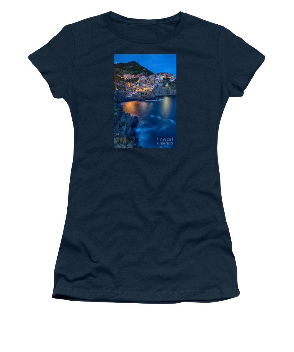 Michele Women's T-Shirt featuring the photograph Manarola By Twilight by Michele Steffey