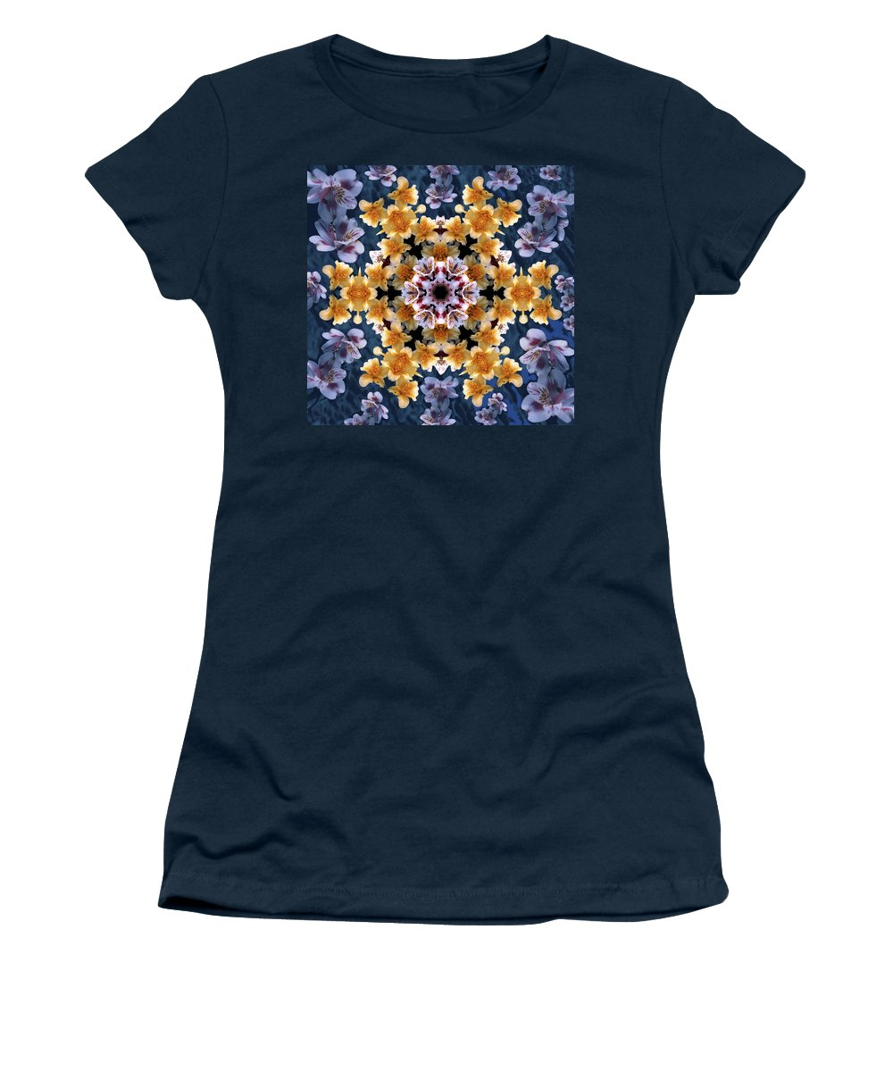 Mandala Women's T-Shirt featuring the digital art Mandala Alstro by Nancy Griswold