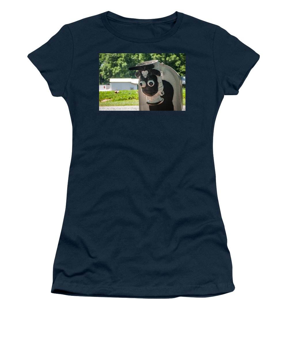 Animal Women's T-Shirt featuring the photograph Metal Cow On Farm by Alex Grichenko