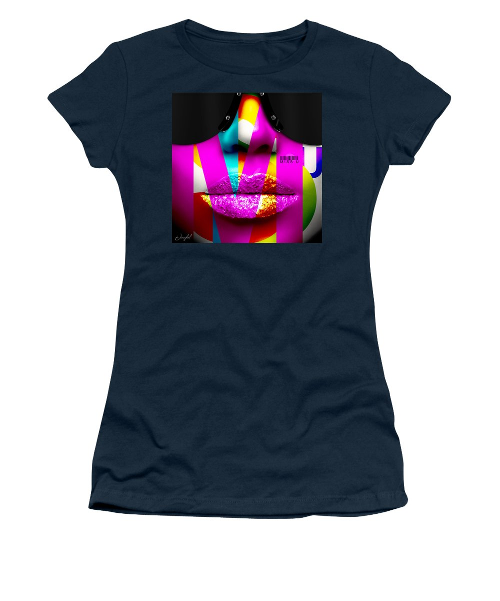 Kiss Women's T-Shirt featuring the digital art Miss U by Jan Raphael