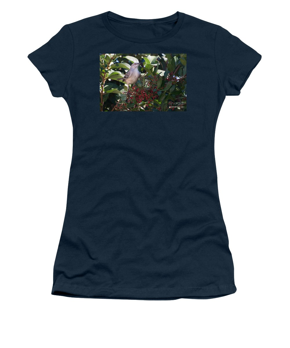 Mocking Women's T-Shirt featuring the photograph Mocking Bird And Berries by Photos By Cassandra
