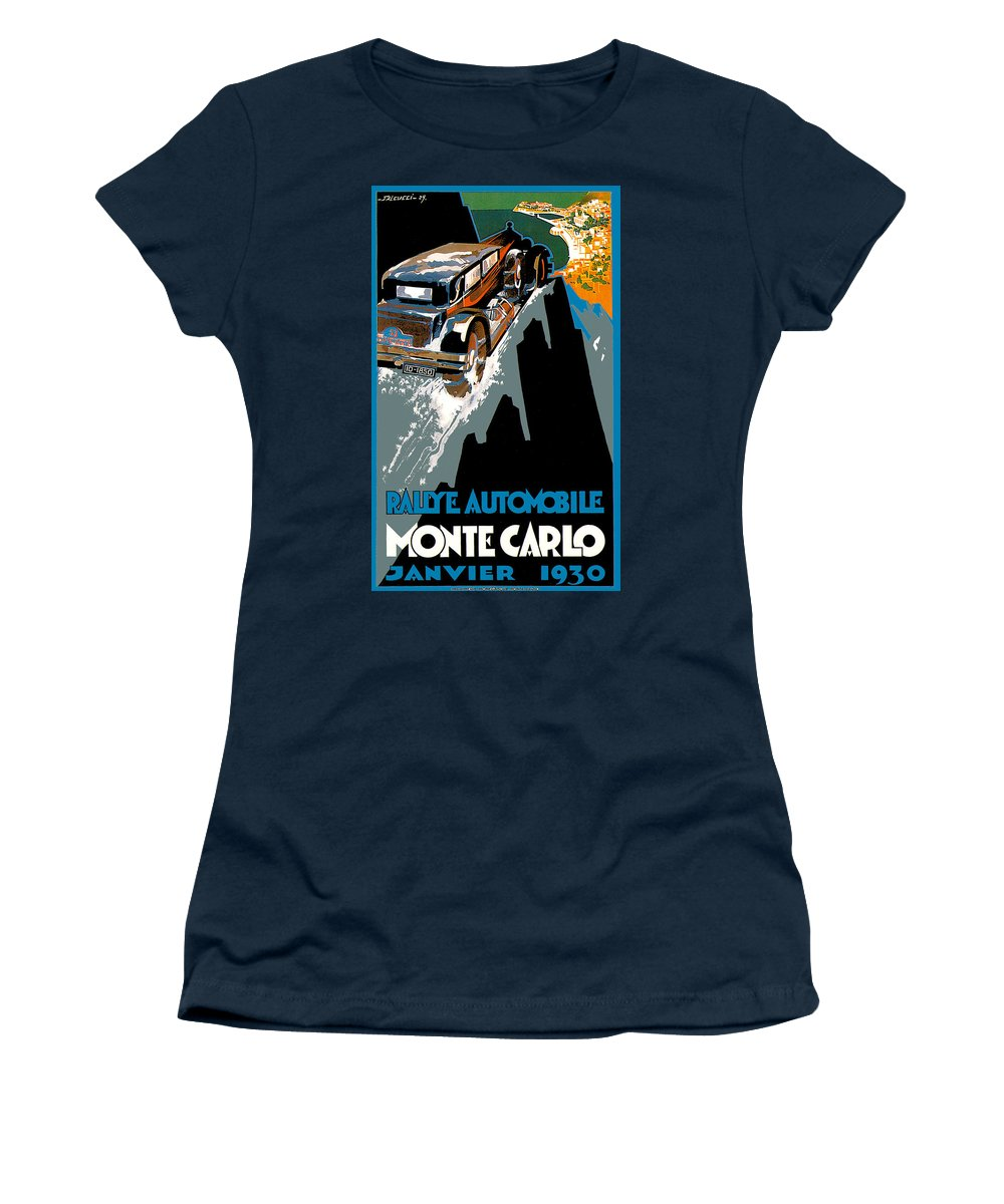 Vintage Automobile Ads And Posters Women's T-Shirt featuring the photograph Monte Carlo Rallye Automobile by Vintage Automobile Ads and Posters