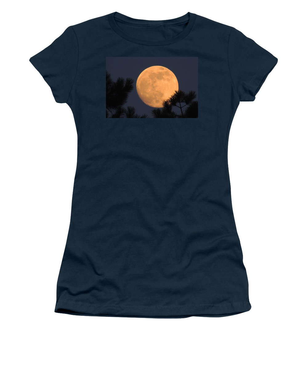 Moon Women's T-Shirt featuring the photograph Moon Pines by Charlotte Schafer