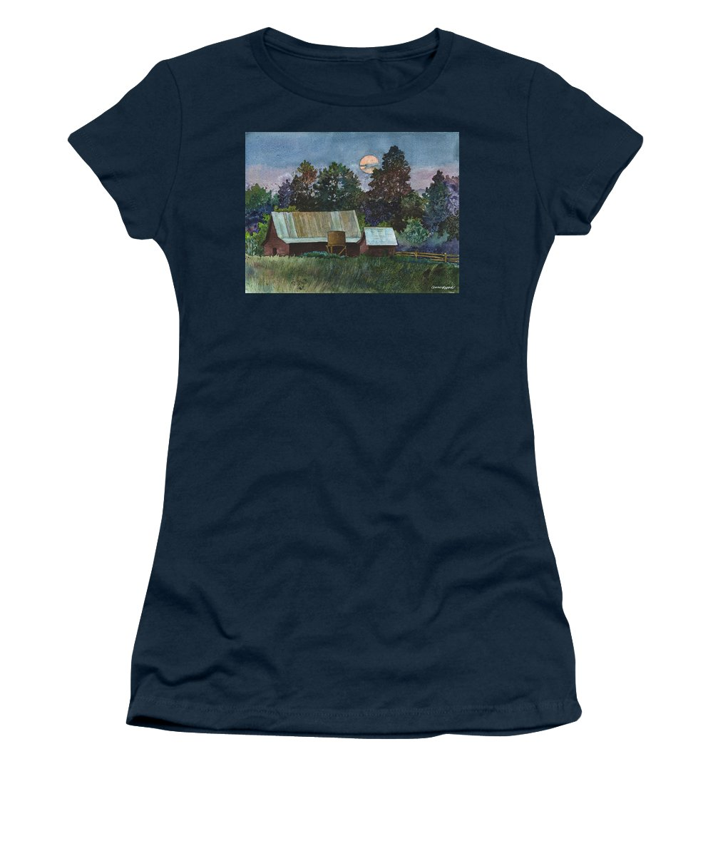 Moonlight Painting Women's T-Shirt featuring the painting Moonlight over Caribou by Anne Gifford