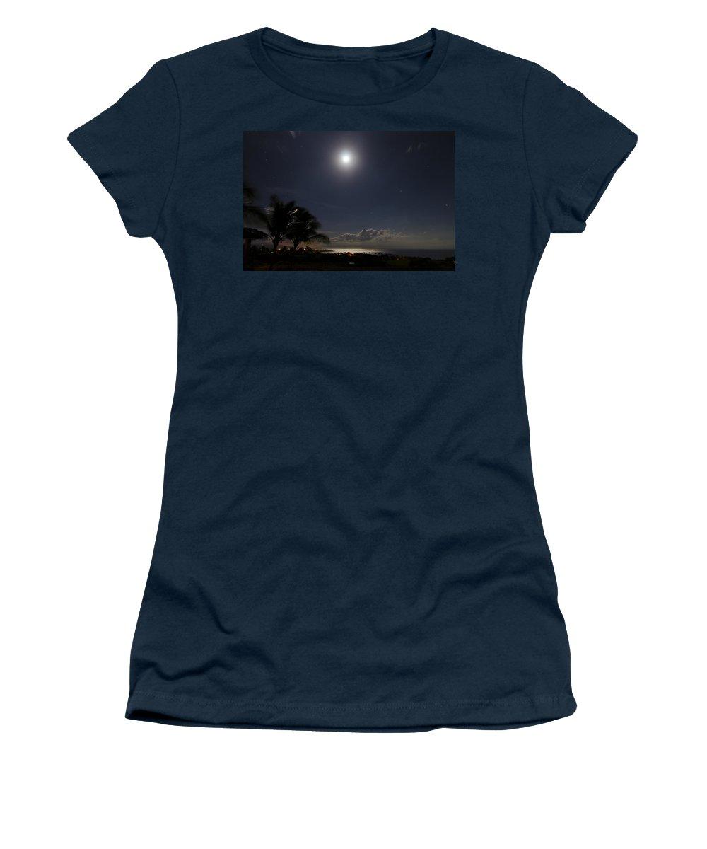 Moon Women's T-Shirt featuring the photograph Moonlit Bay by Daniel Murphy