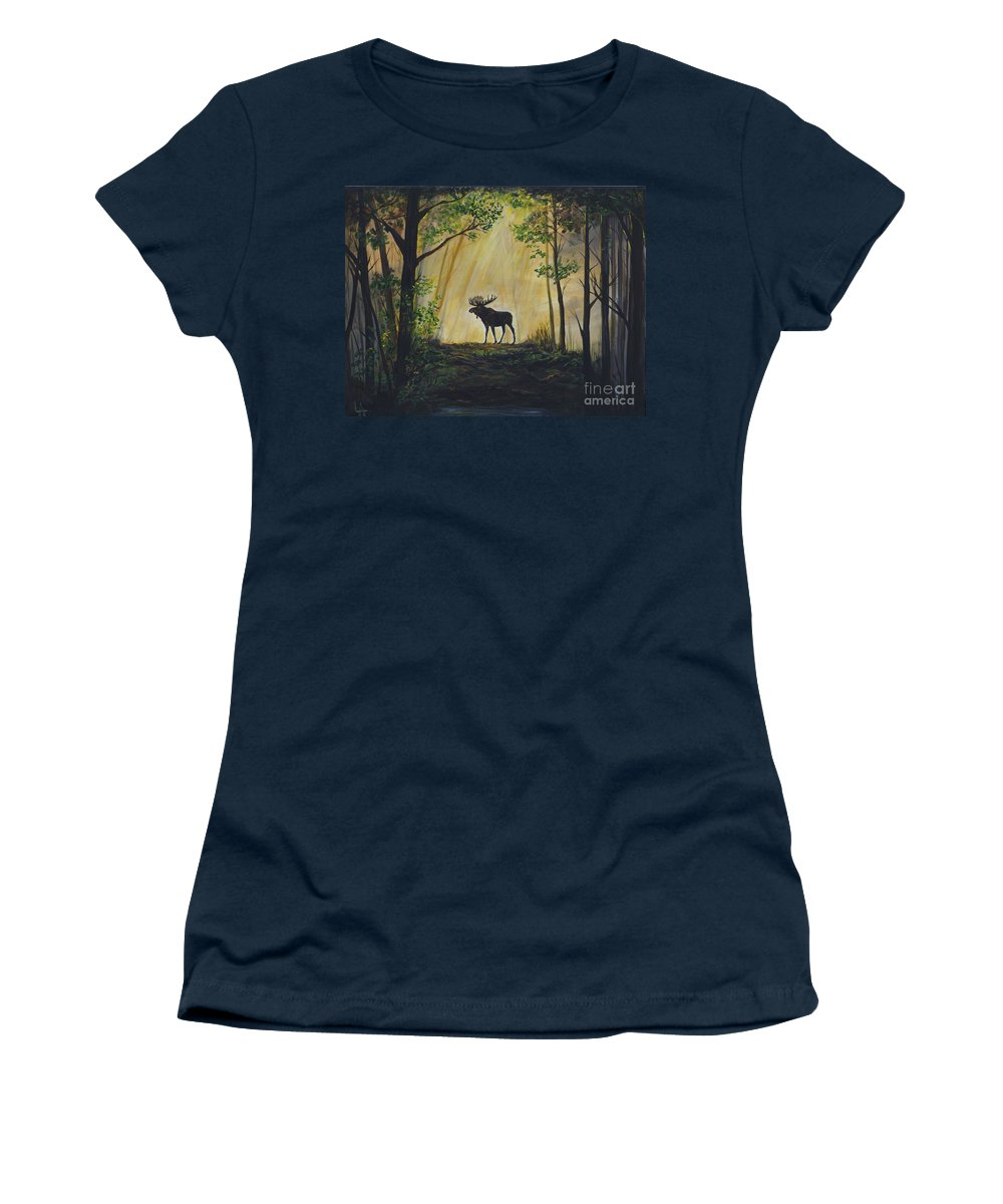 Women's T-Shirt featuring the painting Moose Magnificent by Leslie Allen