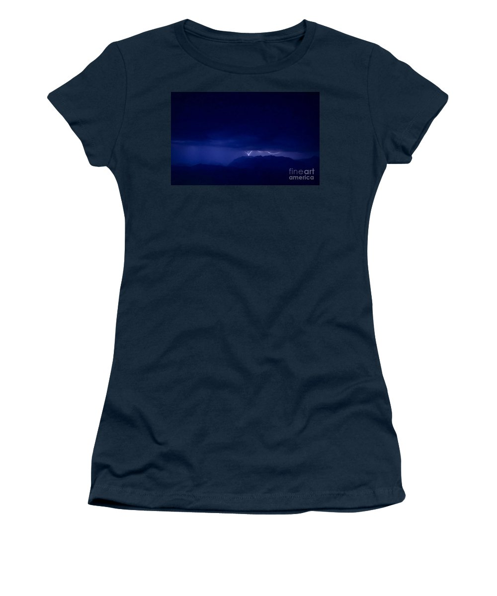 Lightning Women's T-Shirt (Athletic Fit) featuring the photograph Mountrain Strike by Andrea Goodrich