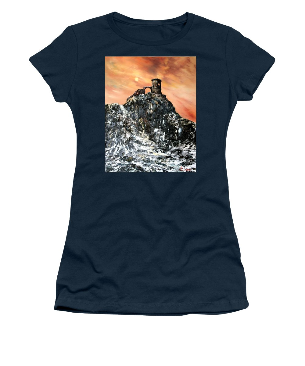 Derilicet Women's T-Shirt featuring the painting Mow Cop Castle Staffordshire by Jean Walker