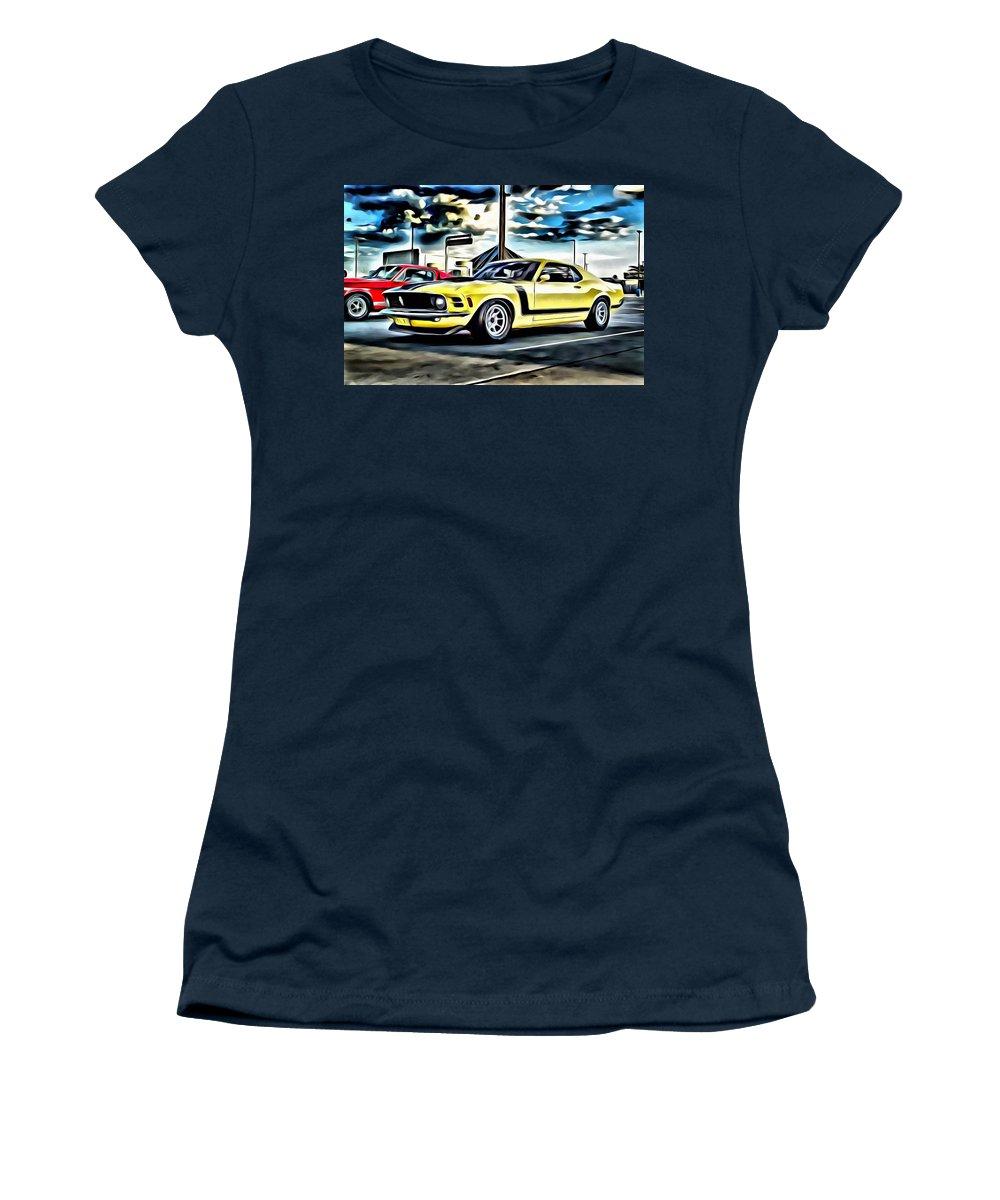 Car Women's T-Shirt featuring the painting Mustang Boss 302 by Florian Rodarte