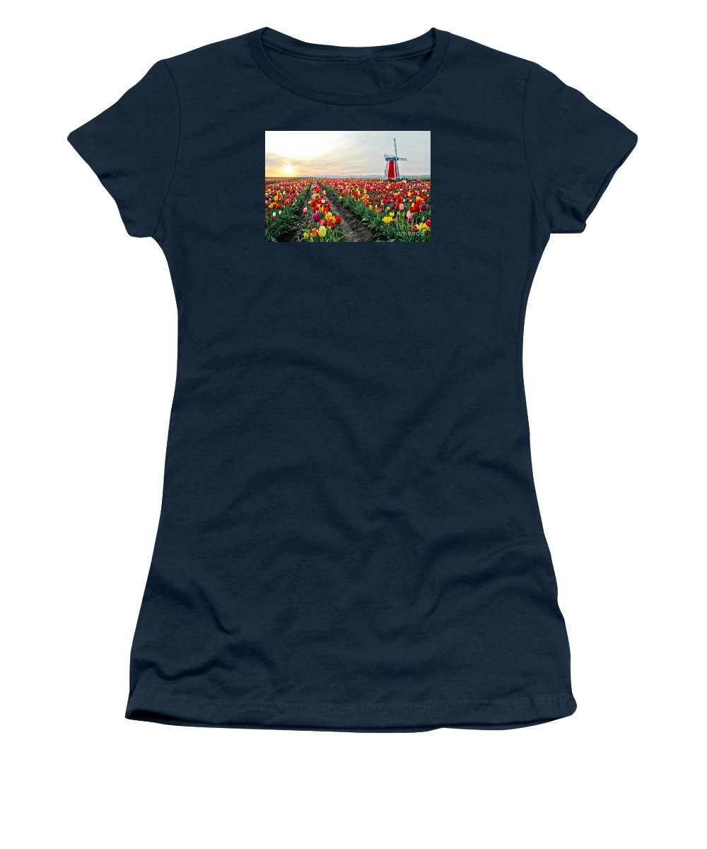 Tulips Women's T-Shirt featuring the photograph My Touch Of Holland 2 by Nick Boren