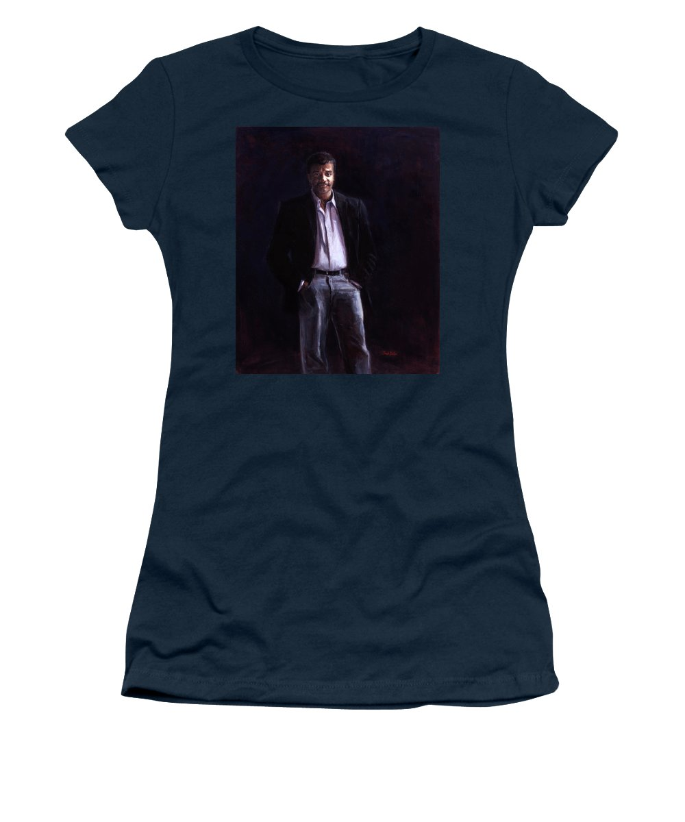 Cosmos Women's T-Shirt featuring the painting Neil Degrasse Tyson by Sarah Yuster