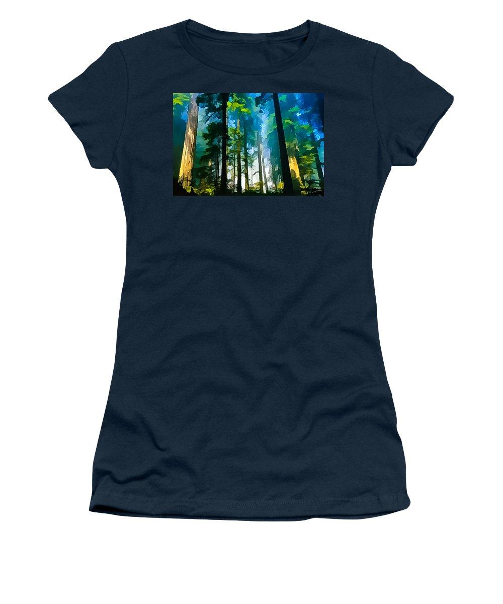 Digital Painting Women's T-Shirt featuring the digital art Never Never Land by Louis Dallara