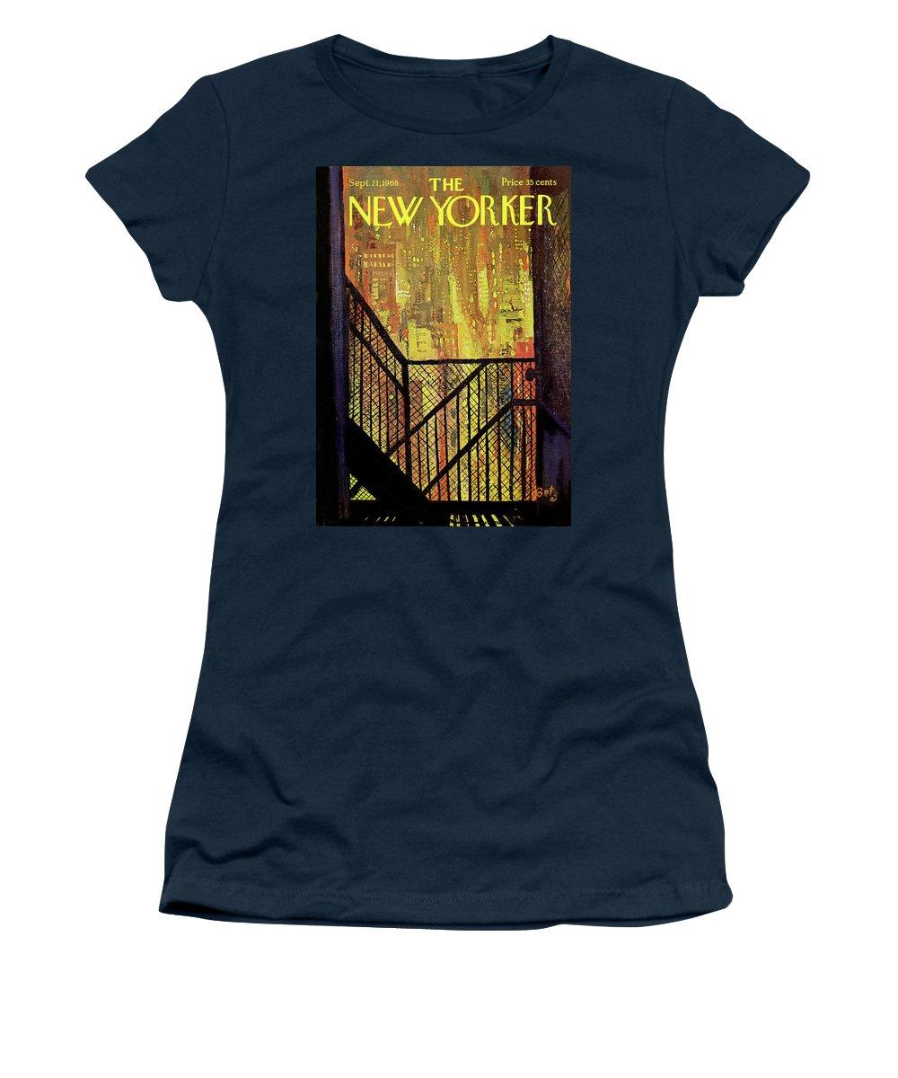 Arthur Getz Agt Women's T-Shirt featuring the painting New Yorker September 21st, 1968 by Arthur Getz