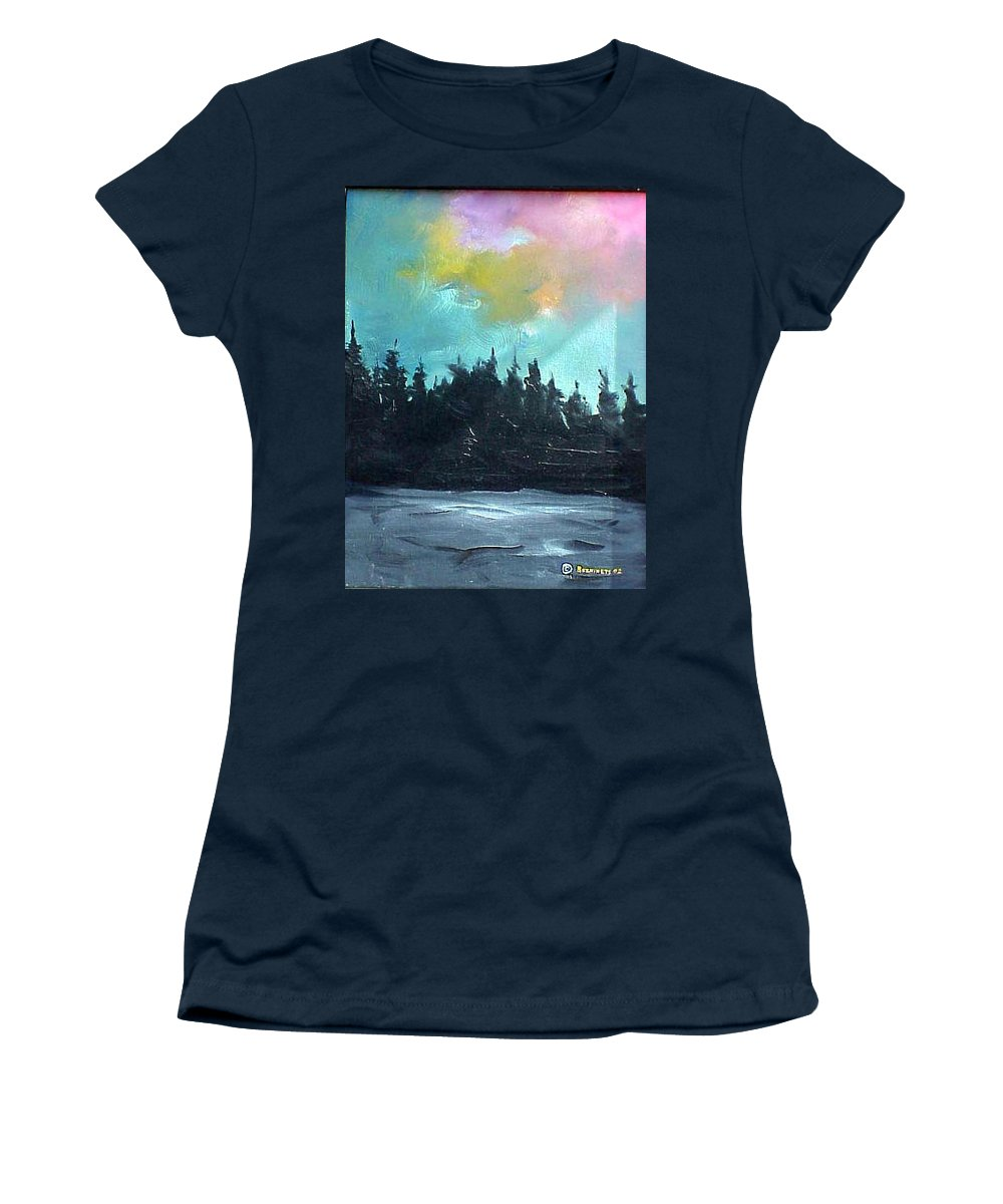 Landscape Women's T-Shirt (Athletic Fit) featuring the painting Night River by Sergey Bezhinets