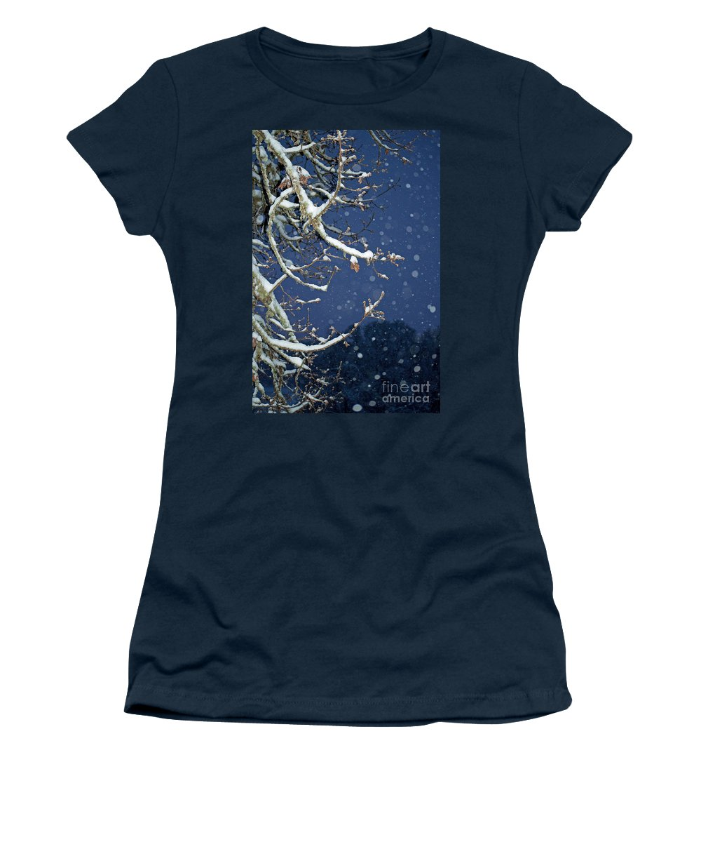 Snow Women's T-Shirt featuring the photograph Night Snow by Gwyn Newcombe