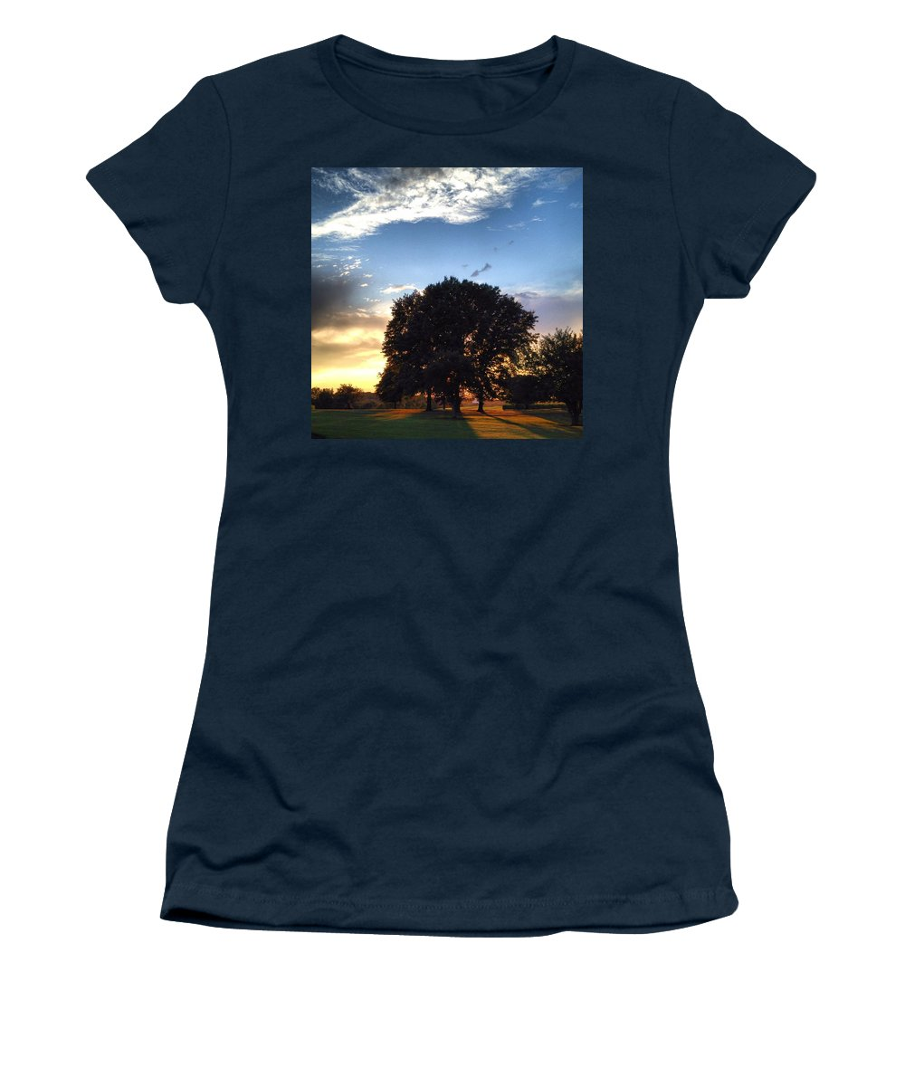 Tree Women's T-Shirt (Athletic Fit) featuring the photograph Oak Tree At The Magic Hour by Angela Rath