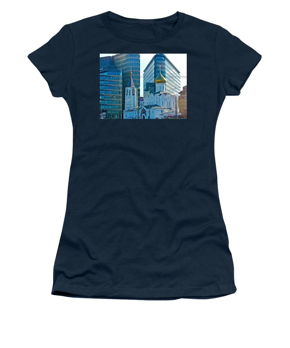 Old Believer-new Believer Church Amid Skyscrapers In Moscow Women's T-Shirt (Athletic Fit) featuring the photograph Old Believer-new Believer Church Amid Skyscrapers In Moscow-russia by Ruth Hager