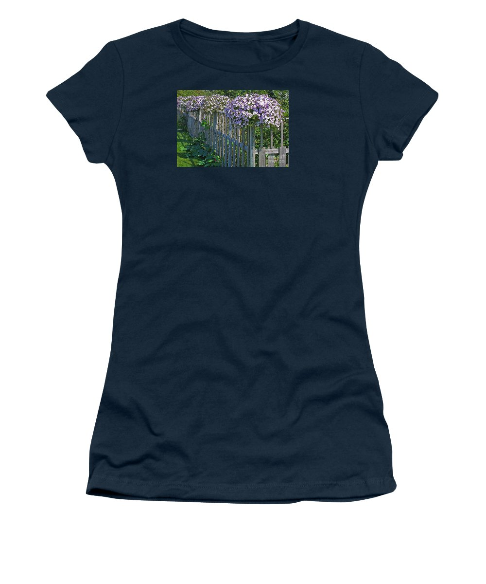 Petunia Women's T-Shirt featuring the photograph On The Fence by Ann Horn