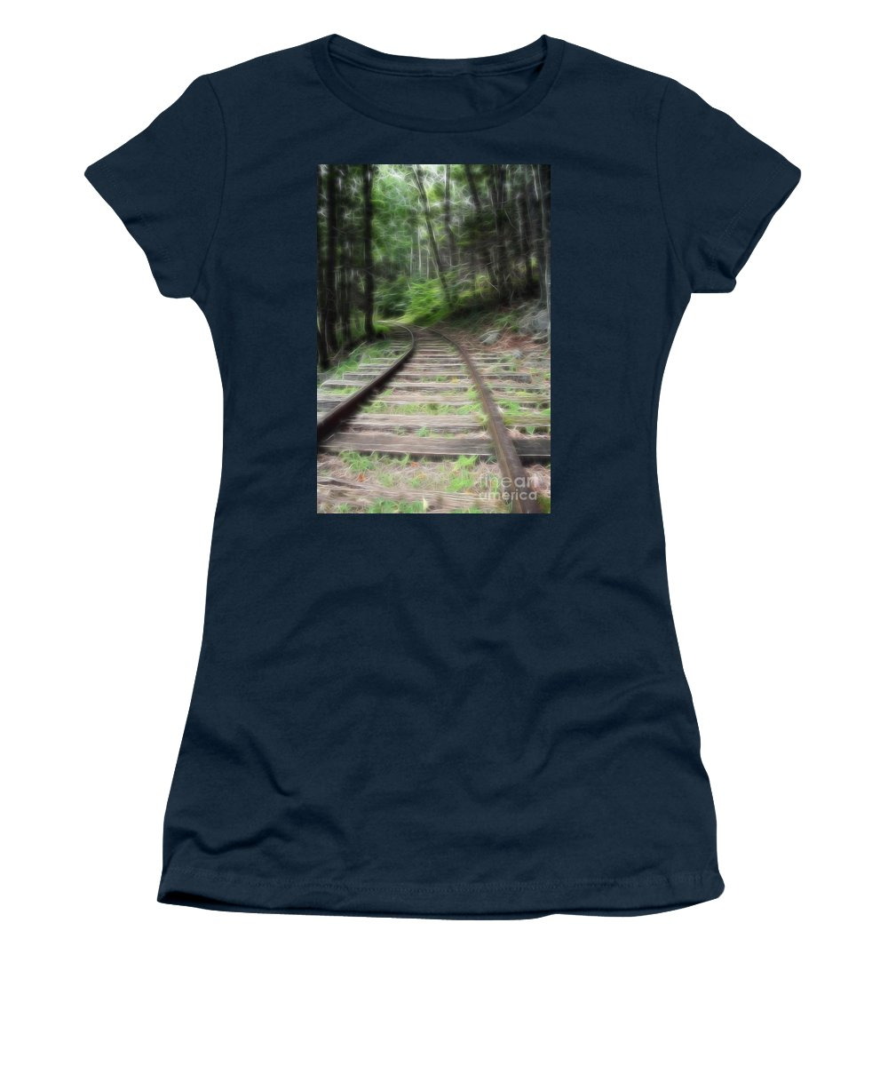 Transportation Women's T-Shirt featuring the mixed media Victorian Locomotive Tracks by Doc Braham