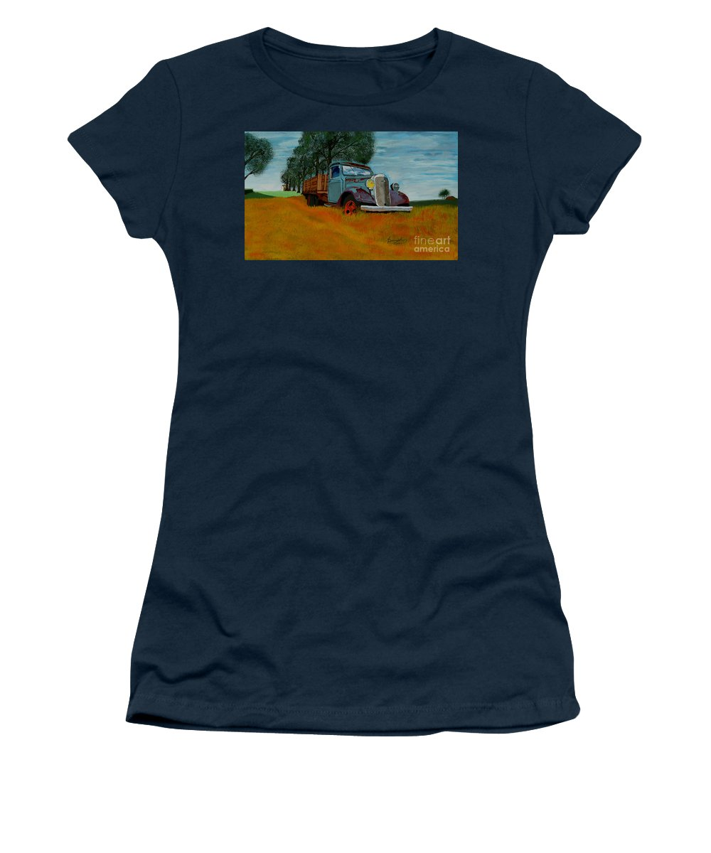 Truck Women's T-Shirt featuring the painting Out to Pasture by Anthony Dunphy
