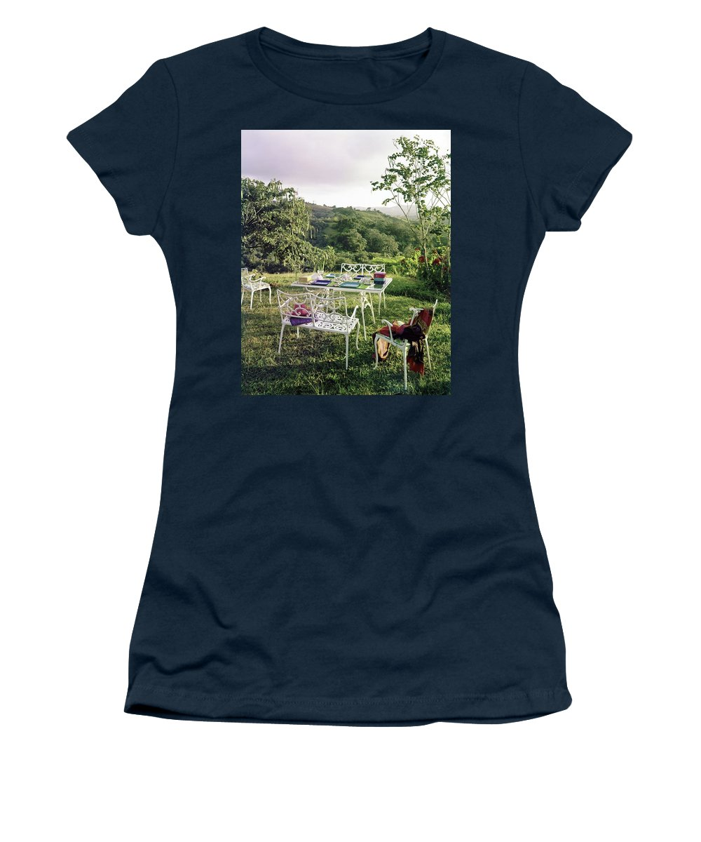 Outdoor Living Women's T-Shirt featuring the photograph Outdoor Furniture By Lloyd On Grassy Hillside by Tom Leonard