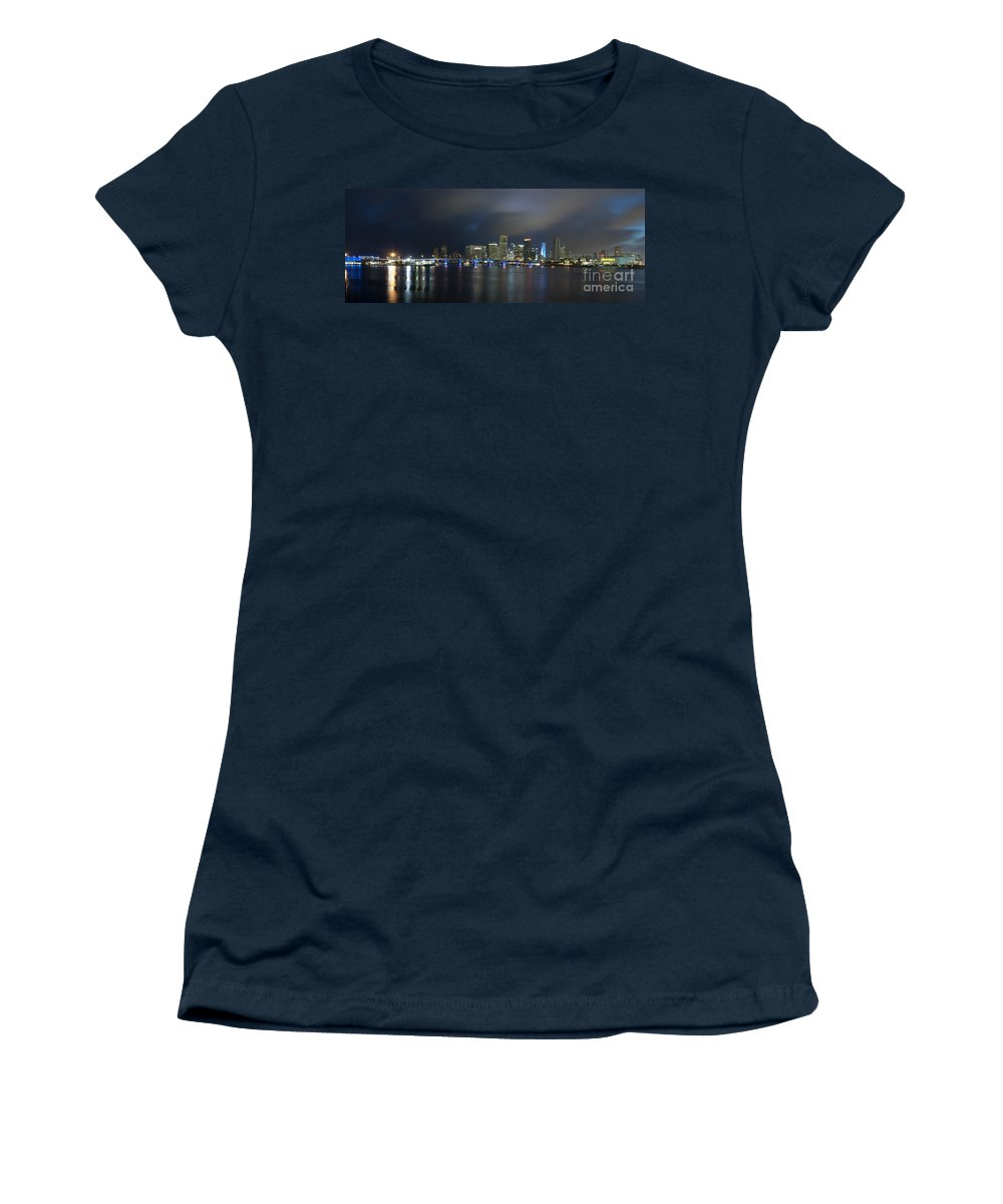 America Women's T-Shirt featuring the photograph Panoramic Of Miami Florida by Anthony Totah