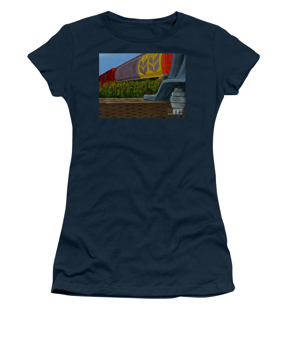Train Women's T-Shirt (Athletic Fit) featuring the painting Passing The Wild Ones by Anthony Dunphy