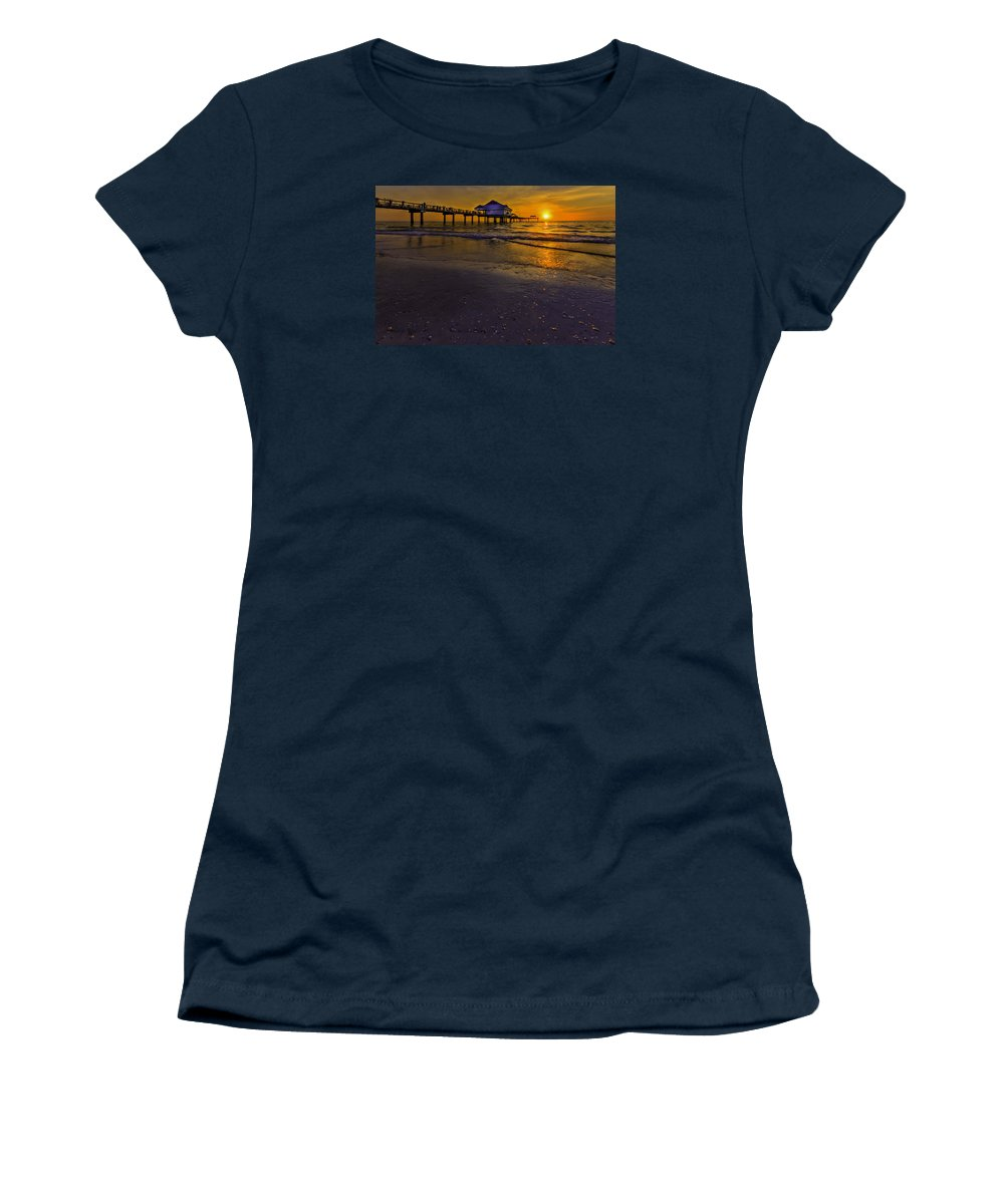 Pier Women's T-Shirt featuring the photograph Pier Into The Sun by Marvin Spates