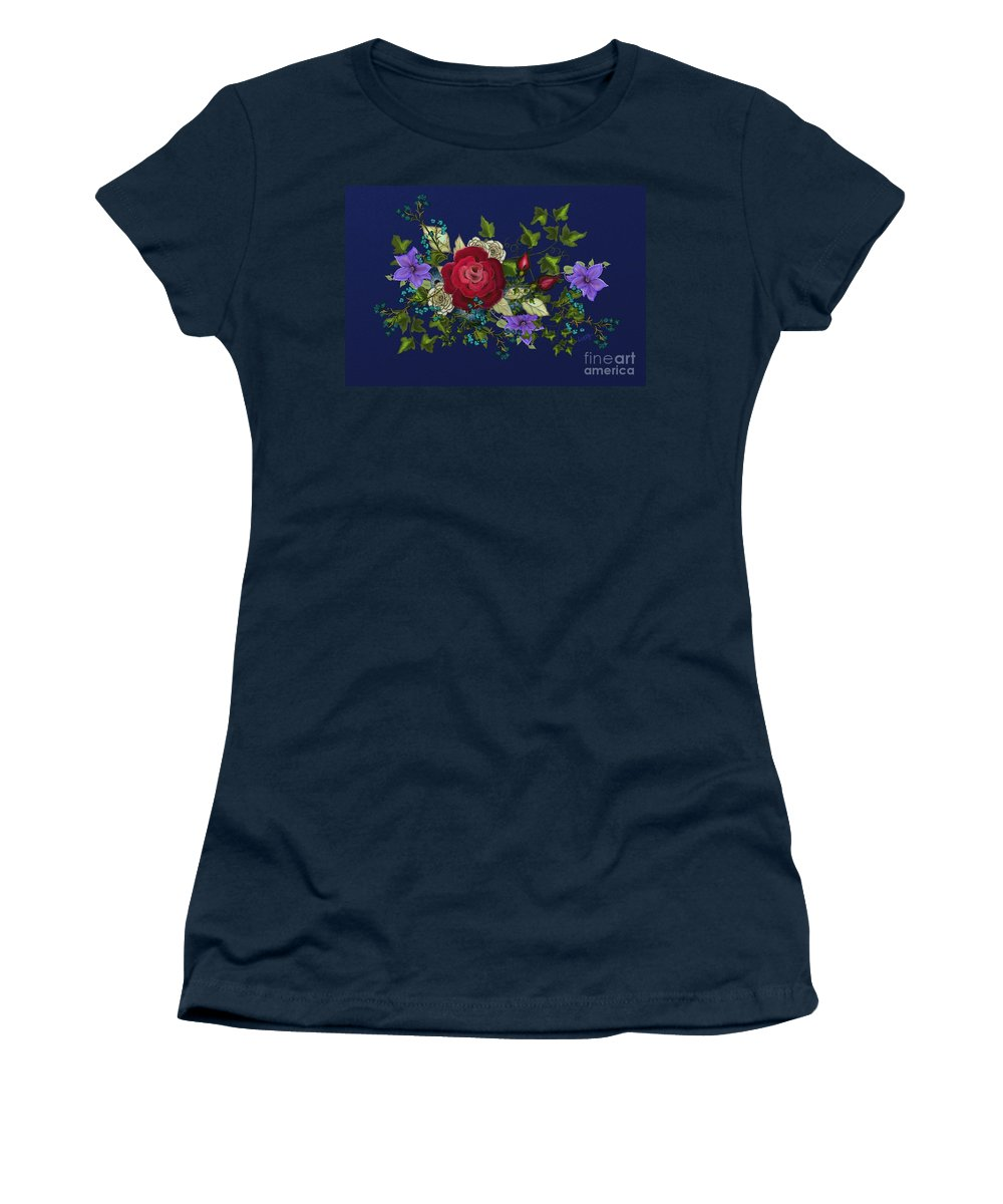 Blue Women's T-Shirt (Athletic Fit) featuring the painting Pink Metallic Rose On Blue by Nancy Long